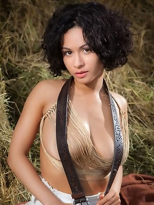 Pammie Lee shows off her curvy body with large puffy breasts as she poses all over the hay.